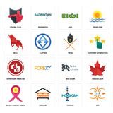 Set of lux, hookah, breast cancer ribbon, bike chain, veterinary medicine, tribe, bull, kiwi, boxing club icons. Set Of 16 simple  icons such as lux, hookah Royalty Free Stock Photos
