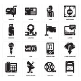 Set of Mailbox, Film reel, Telephone, Music player, Microphone, Flag, Pendrive, User, Mailbox icons. Set Of 16 simple  icons such as Mailbox, Film reel Stock Images