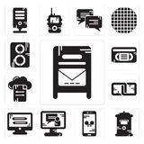 Set of Mailbox, Smartphone, Video call, Monitor, Link, File transfer, Vhs, Speaker icons. Set Of 13 simple  icons such as Mailbox, Smartphone, Video call Royalty Free Stock Image