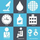 Set Of 9 simple  icons. Such as male and female, disabled man, man doctor, medical, medical pill, 24 hr, earth, water drop, microscope, can be used for mobile Royalty Free Stock Photo