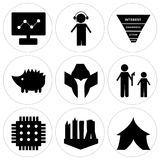 Set Of 9 simple  icons. Such as marquee, future city, sem, execution, spartan helmet, hedgehog, marketing funnel on white background, in black,, dispatch Stock Image
