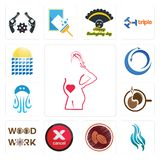 Set of maternity, flame, cacao, cancel, woodwork, coffe, jellyfish, import export, solar panel icons. Set Of 13 simple  icons such as maternity, flame, cacao Stock Image