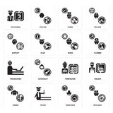 Set of Mechanic, Pensioner, Singer, Firefighter, Programmer, Miner, Support, Nurse, Policeman icons. Set Of 16 simple  icons such as Mechanic, Pensioner, Police Stock Photography