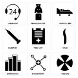 Set Of 9 simple  icons. Such as medical, biochemistry, diagnostics, brush, todo list, injection, hospital bed, female doctor, 24 support, can be used for mobile Royalty Free Stock Images