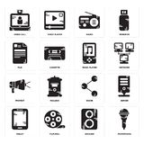 Set of Microphone, Speaker, Tablet, Share, Protest, Music player, File, Radio, Video call icons. Set Of 16 simple  icons such as Microphone, Speaker, Film reel Stock Photography