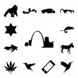 Set of missouri, hummingbird, cell phone, marijuana leaf, donkey, goldfish, chameleon, star david icons. Set Of 13 simple  icons such as missouri, hummingbird Stock Image