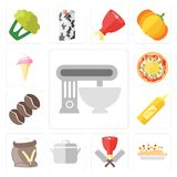 Set of Mixer, Risotto, Butcher, Pot, Flour, Mustard, Coffee, Piz. Set Of 13 simple icons such as Mixer, Risotto, Butcher, Pot, Flour, Mustard, Coffee, Pizza, Ice royalty free illustration
