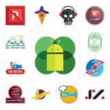 Set of mobile os a, jz, chef, gryphon, 2 years warranty, medicare, hair dresser, celtic tree life, moutain icons. Set Of 13 simple  icons such as mobile os a, jz Royalty Free Stock Photos