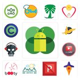 Set of mobile os a, travel, no parking, moutain, booty, pinetree, skull with headphone, gryphon, copyright free icons. Set Of 13 simple  icons such as mobile os Royalty Free Stock Photography