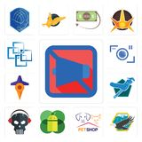 Set of mobile silent, eagle, petshop, os a, skull with headphone, plumber, travel, camera, blockchain icons. Set Of 13 simple  icons such as mobile silent, eagle Stock Photos