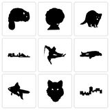 Set Of 9 simple  icons such as montana, wolf face, goldfish. Chalk, ninja, wisconsin, raccoon, afro, beaver, can be used for mobile, web Stock Image