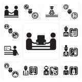Set of mover, Priest, Spaceman, Worker, Concierge, Magician, Teacher, Firefighter, Writer icons. Set Of 13 simple  icons such as mover, Priest, Spaceman, Worker Stock Photo