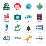 Set of nano, dragonfly, 40 years, locomotive, sea horse, diy, 30 anniversary, statement, camper icons. Set Of 16 simple  icons such as nano, dragonfly, nerd, 40 Stock Photos