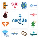 Set of nargile, viking ship, cofee, hallmark, never give up, simple tree service, handicraft company, catering, grim reaper icons. Set Of 13 simple  icons such Royalty Free Stock Images