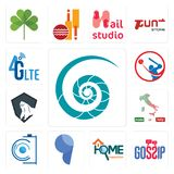 Set of nautilus shell, gossip, home inspection, comma, camera, made in italy, king kong, batsman, 4g lte icons. Set Of 13 simple  icons such as nautilus shell Stock Image