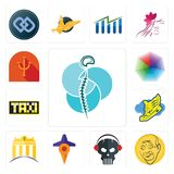 Set of neurosurgery, patel, skull with headphone, travel, banque, shoe wings, taksi, heptagon, psi icons. Set Of 13 simple  icons such as neurosurgery, patel Royalty Free Stock Photo