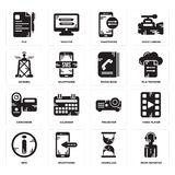Set of News reporter, Hourglass, Info, Projector, Camcorder, Phone book, Antenna, Smartphone, File icons. Set Of 16 simple  icons such as News reporter Stock Images