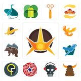 Set of nova, bullshit, skull with headphone, dream team, qf, plumber, free bear, phoenix, gryphon icons. Set Of 13 simple  icons such as nova, bullshit, skull Stock Image