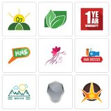 Set Of 9 simple  icons such as nova, shield, moutain. Hair dresser, parlour, mms, 1 year warranty, stevia, agro, can be used for mobile, web Royalty Free Stock Photo