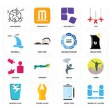 Set of number players, order form, broken glass, join us, advisor, discussion board, waterfall, adaptability, earthquake icons. Set Of 16 simple  icons such as Royalty Free Stock Images