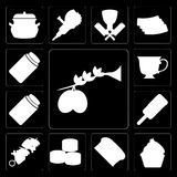 Set of Olives, Cupcake, Bread, Sushi, Kebab, Ice cream, Honey, T. Set Of 13 simple  icons such as Olives, Cupcake, Bread, Sushi, Kebab, Ice cream, Honey, Tea Royalty Free Illustration