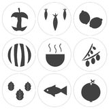 Set Of 9 simple  icons. Such as onion, fish, olive, soup, watermelon, lemon, carrot, eaten apple, can be used for mobile, web UI Stock Image