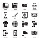 Set of Open book, Flag, Smartphone, Camcorder, File transfer, Mailbox, Telephone icons. Set Of 16 simple  icons such as Open book, Flag, Smartphone, Telephone Royalty Free Stock Images