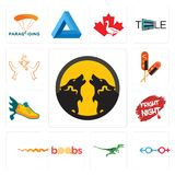 Set of pack wolf, sex store, velociraptor, boobs, rattlesnake, fright night, flying shoe, corn dog, ganesh icons. Set Of 13 simple  icons such as pack wolf, sex Stock Photography