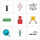 Set Of 9 simple  icons such as page turn, elastic, turn. Set Of 9 simple  icons such as page turn, elastic, shotgun, customer experience, adaptability Stock Photos