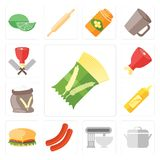 Set of Pasta, Pot, Mixer, Sausage, Hamburguer, Mustard, Flour, H. Set Of 13 simple icons such as Pasta, Pot, Mixer, Sausage, Hamburguer, Mustard, Flour, Ham Royalty Free Illustration