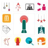 Set of penetration, dab, page turn, fire hydrant, cell tower, request a quote, xxx, municipality icons. Set Of 13 simple  icons such as penetration, dab, page Royalty Free Stock Photo