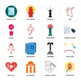 Set of penetration, request a quote, hospitality, concierge, ganesh, orchid, sprinkler, specification icons. Set Of 16 simple  icons such as penetration, request Royalty Free Stock Photo