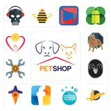 Set of petshop, gryphon, house cleaning, f, travel, ram, appliance repair, pit bull, breastfeeding icons. Set Of 13 simple  icons such as petshop, gryphon, house Stock Image