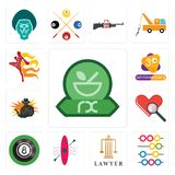 Set of pharmacy, abacus, lawyer, kayak, 8 ball pool, cholesterol, outlaw, 3rd anniversary, muay thai icons. Set Of 13 simple  icons such as pharmacy, abacus Royalty Free Stock Photo