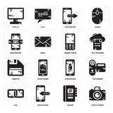 Set of Photo camera, Agenda, Link, Smartphone, Diskette, Mobile phone, Display icons. Set Of 16 simple  icons such as Photo camera, Agenda, Smartphone, Link Royalty Free Stock Photo