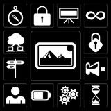 Set of Photos, Hourglass, Settings, Battery, User, Mute, Street, Lock, Cloud computing, editable icon pack royalty free illustration