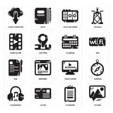Set of Picture, Clipboard, Headphones, Video player, File, Calendar, Voice recorder, Cloud computing icons. Set Of 16 simple  icons such as Picture, Clipboard Royalty Free Stock Image