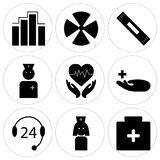 Set Of 9 simple  icons. Such as pills, female doctor, 24 support, medical, cardiogram, female doctor, plaster, medical, diagnostics, can be used for mobile, web Stock Photography