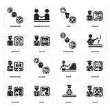 Set of Pirate, Driver, Surgeon, Miner, Programmer, Firefighter, Librarian, Chef, Hairdresser icons. Set Of 16 simple  icons such as Pirate, Driver, Pilot Royalty Free Stock Photography