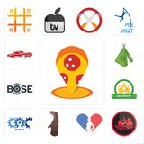 Set of pizza place, domestic violence, gynecologist, otter, carparts, university, bose, teepee, lowrider icons. Set Of 13 simple  icons such as pizza place Stock Photography
