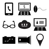 Set Of 9 simple  icons. Such as Placeholder, Video camera, Strategy, Laptop, Cloud computing, Eye glasses, Pay per click, Pay per click, Smartphone, can be used Royalty Free Stock Image