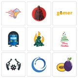 Set Of 9 simple  icons such as plum, import export, revolver. Merry christmas, firemen, train station, gamer, spartan, catering services, can be used for Royalty Free Stock Photo