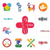 Set of plus size, bomb squad, fantasy baseball, indian rupee, non smoking, hooligan, callout, bose, fiber optic icons. Set Of 13 simple  icons such as plus size Stock Image