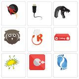 Set Of 9 simple  icons such as podiatry, output, starburst. Catering, resturant, free owl, mamba, ethernet, rocket, can be used for mobile, web Stock Images