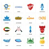 Set of pomelo, halal, flight, pen nib, uae flag, cricket, paperboat, , tour guide icons. Set Of 16 simple  icons such as pomelo, halal, auto glass, flight, boars Royalty Free Stock Photography