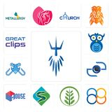 Set of poseidon, 88, fern, winding road, house, camera, fishing tournament, owl company, great clips icons. Set Of 13 simple  icons such as poseidon, 88, fern Stock Photo