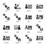 Set of Postman, Athlete, Chauffeur, Welder, Surgeon, Miner, Pilot, Librarian, Miner icons. Set Of 16 simple  icons such as Postman, Athlete, Gardener, Chauffeur Royalty Free Stock Images