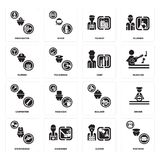 Set of Postman, Clown, Stewardess, Builder, Carpenter, Chef, Farmer, Tourist, Firefighter icons. Set Of 16 simple  icons such as Postman, Clown, Gardener Royalty Free Stock Images