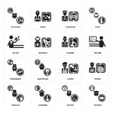 Set of Postman, Doctor, Magician, Clown, Stewardess, Plumber, Waiter, Chauffeur, Policeman icons. Set Of 16 simple  icons such as Postman, Doctor, Gardener Royalty Free Stock Photo