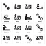 Set of Postman, Magician, Librarian, Worker, call center, De, housekeeper, Pilot, Maid icons. Set Of 16 simple  icons such as Postman, Magician, Tourist Royalty Free Stock Photography